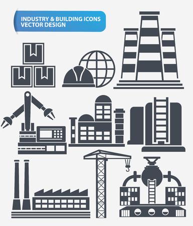 surtidor de gasolina: Industria, ingeniero de diseño y construcción conjunto de iconos, vector limpia