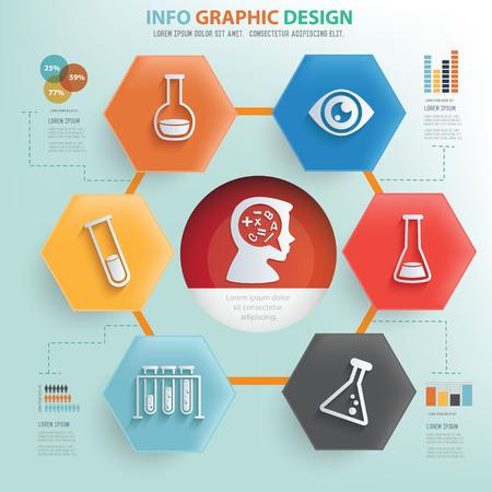 qu�mica: Concepto de aprendizaje y la educaci�n informaci�n de dise�o gr�fico, vector Vectores