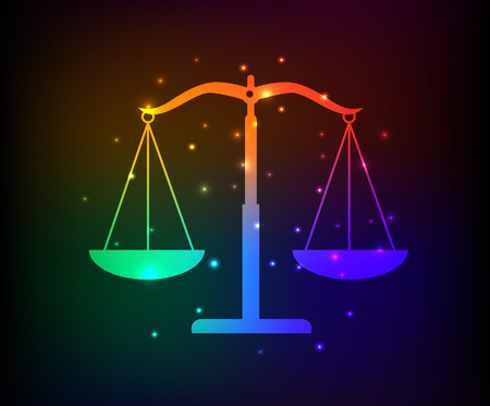 acquittal: Justice scale design,rainbow concept,clean vector