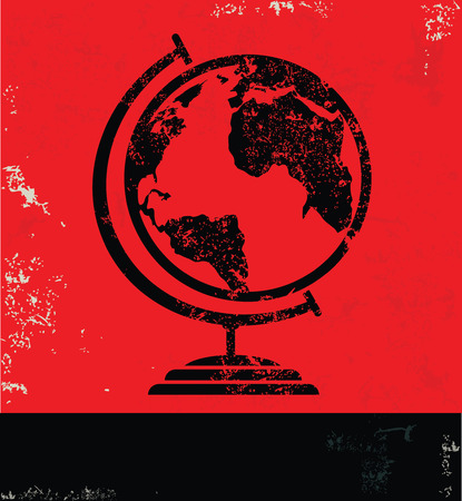 picto: Global design on red background, grunge vector