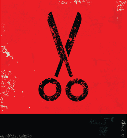 scissors icon: Scissor design on red background, grunge vector