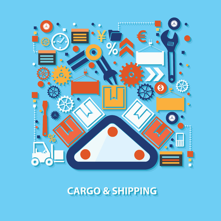 mooring: Cargo and shipping concept design on blue background,clean vector