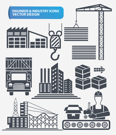 cement chimney: Industry,engineer and construction icon set design,clean vector