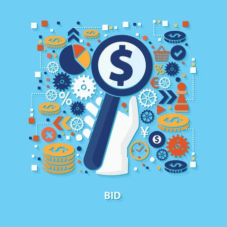 bid: diseño de concepto una oferta sobre fondo azul, limpio vector
