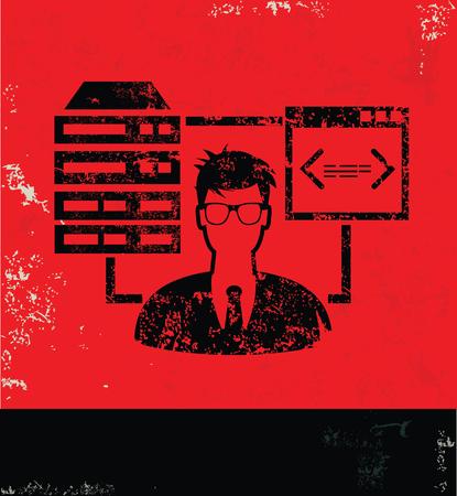 admin: Admin,Database,Networking design on red background, grunge vector