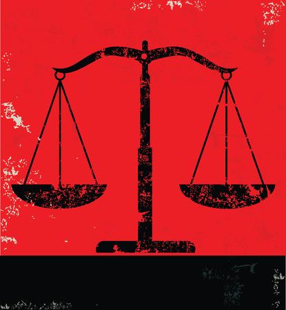 justiz: Gerechtigkeit Skala Design auf rotem Hintergrund, Grunge-Vektor Illustration