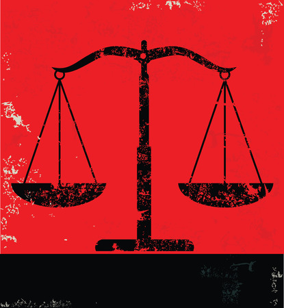 justice: Justice scale design on red background, grunge vector