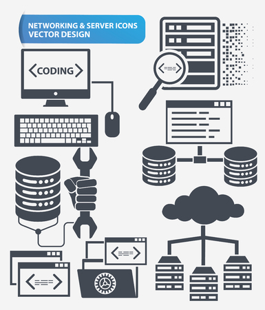 Programming,Networking and database server icon set design,clean vector Illustration