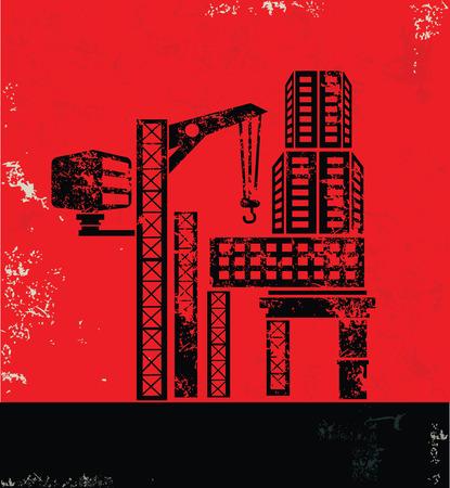 hazardous work: Construction,Industry design on red background, grunge vector Illustration