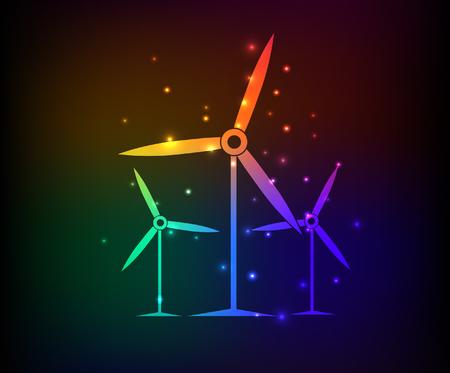 windfarm: Wind turbine design,rainbow concept,clean vector