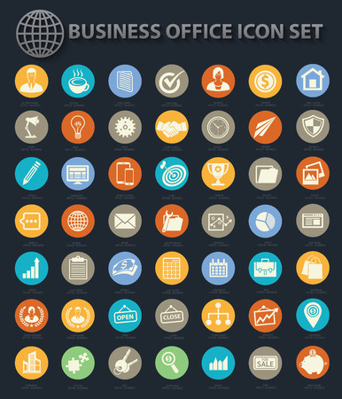 contact icon: Set of Business and office icon set on buttons,clean vector Illustration