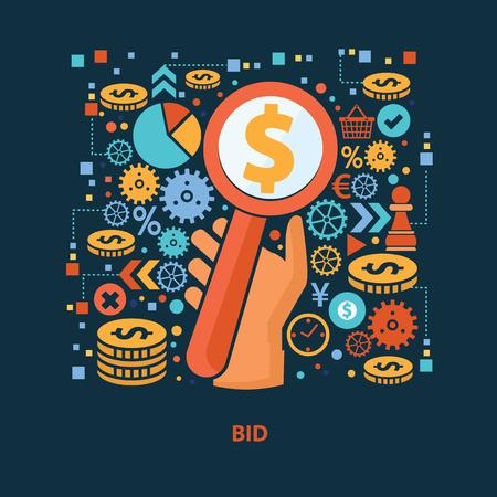 bid: diseño de concepto una oferta sobre fondo oscuro, limpio vector