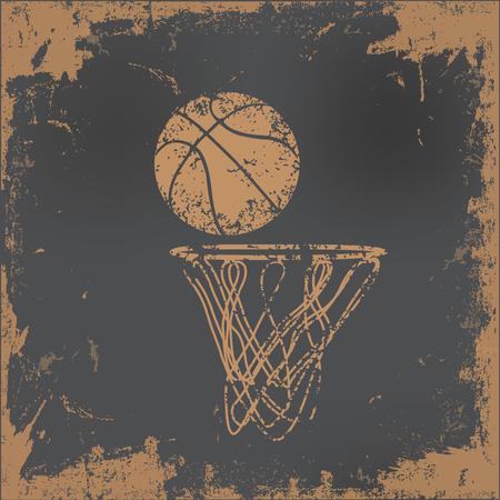 canestro basket: Disegno di pallacanestro su sfondo vecchia carta, vettore