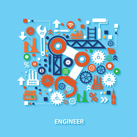 engineering design: Engineer concept design on blue background,clean vector