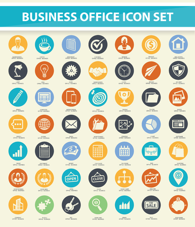 clean office: Set of Business and office icon set on buttons,clean vector Illustration