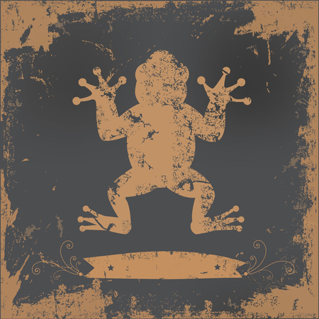tadpole: Frog design on old paper background,vector