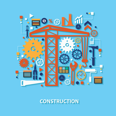 industrial complex: Construction concept design on blue background,clean vector Illustration