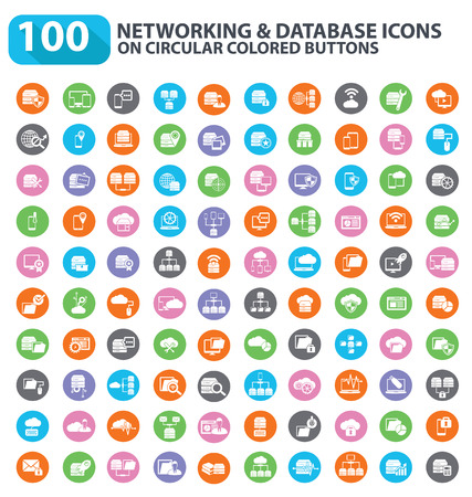 100 Database server, networking and cloud computing icons,clean vector