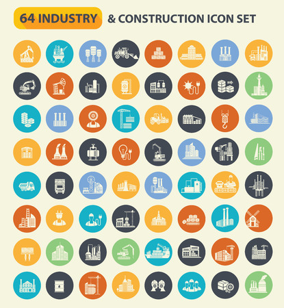 dangerous construction: 64 Construction,industry and factory icon set on buttons,clean vector