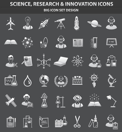 Science,education and innovation icon set,clean vector