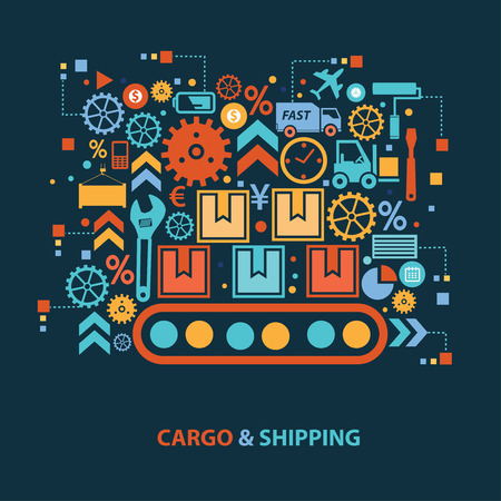 storage data product: Cargo and shipping concept design on dark background,clean vector Illustration
