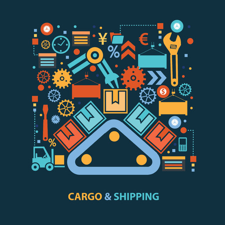 depository: Cargo and shipping concept design on dark background,clean vector Illustration