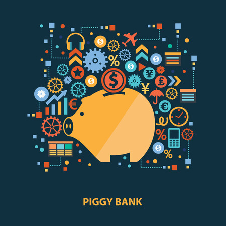 dime: Piggy bank concept design on dark background,clean vector Illustration