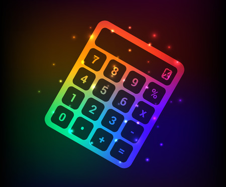 maths department: Calculator design,rainbow concept,clean vector Illustration