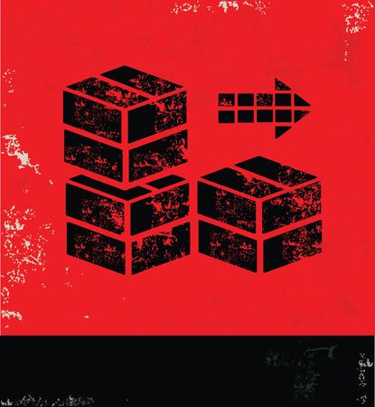 box design: Box design on red background, grunge vector