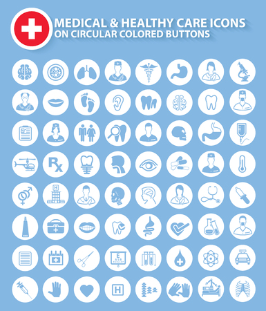 medical doctor: Medical,doctor and healthy icons on circular white buttons,clean vector Illustration