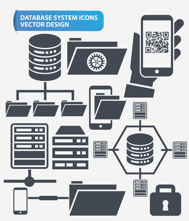 database server: File share,Networking and database server icon set design,clean vector