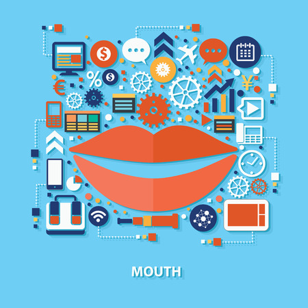 offended: Mouth concept design on blue background,clean vector