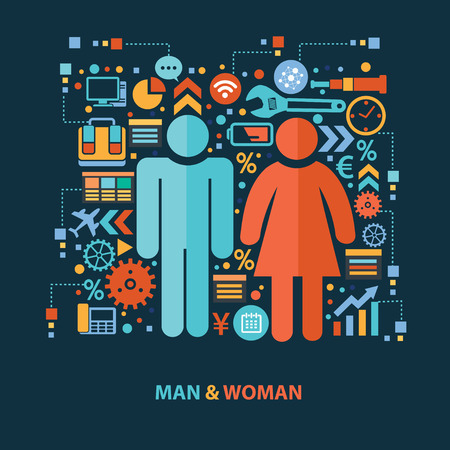 L'uomo e la donna concetto disegno su sfondo scuro, vettore pulito