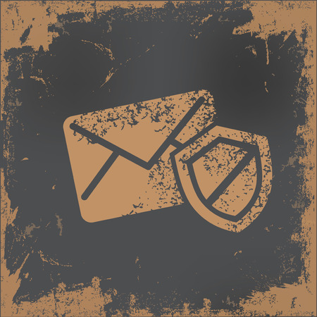 email security: Email security design on old paper background,vector Illustration