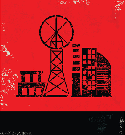 smokestack: Industry design on red background, grunge vector Illustration