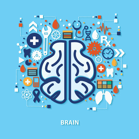pondering: Brain concept design on blue background,clean vector