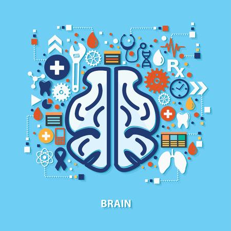 mente humana: el concepto de diseño del cerebro en el fondo azul, limpio vector Vectores