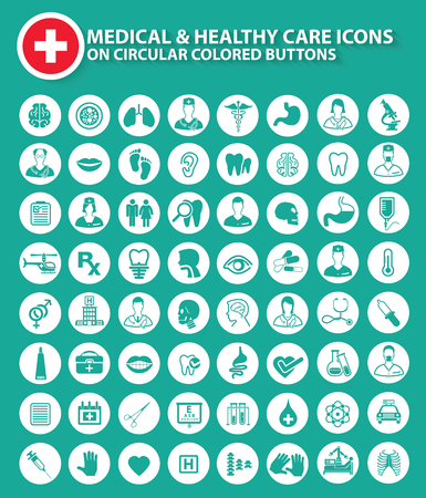 Medical,doctor and healthy icons on circular white buttons,clean vector Vectores