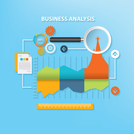 emarketing: Business analysis design on blue background,cell vector