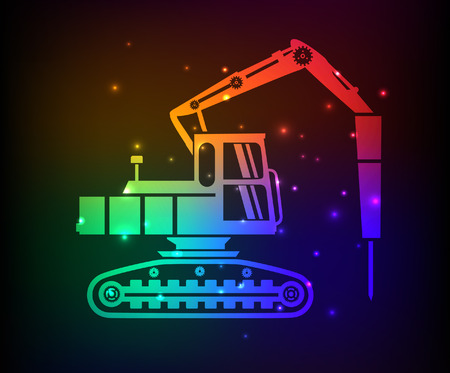 lift and carry: Truck,drill,industry design,rainbow concept,clean vector
