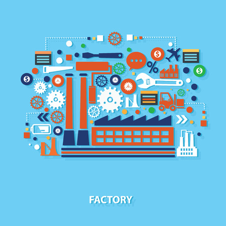 industry design: Factory concept design on blue background,clean vector