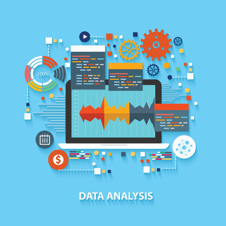 Data analysis concept design on blue background,clean vector