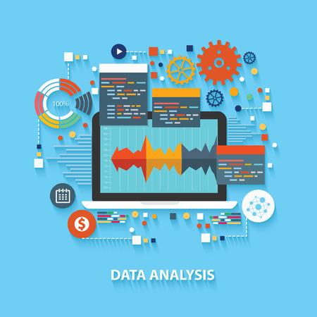 Data-analyse concept op een blauwe achtergrond, schone vector Stock Illustratie