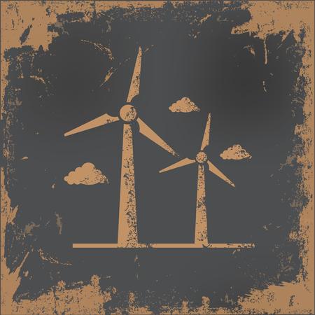 old paper background: Wind turbine design on old paper background,vector Illustration