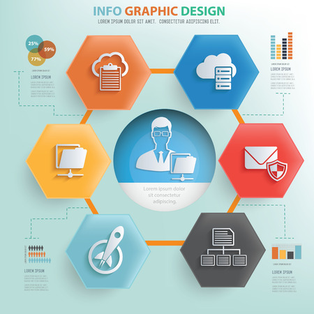 file share: File share and networking concept info graphic design,vector