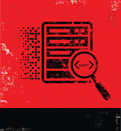 data: Database server design on red background, grunge vector