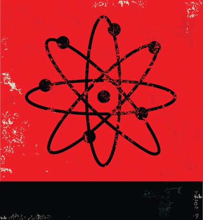 atomo: diseño átomo sobre fondo rojo, vector del grunge Vectores