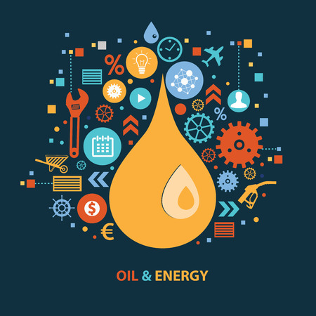 clean energy: Oil and energy concept design on dark background,clean vector