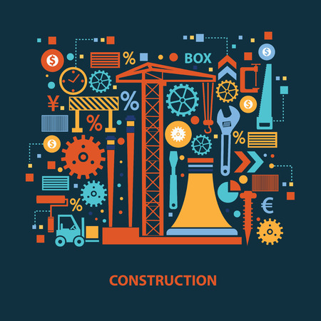 industrial construction: Construction concept design on dark background,clean vector Illustration