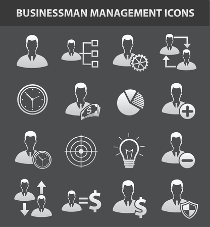 silhouette man: Business management icon set,clean vector Vectores